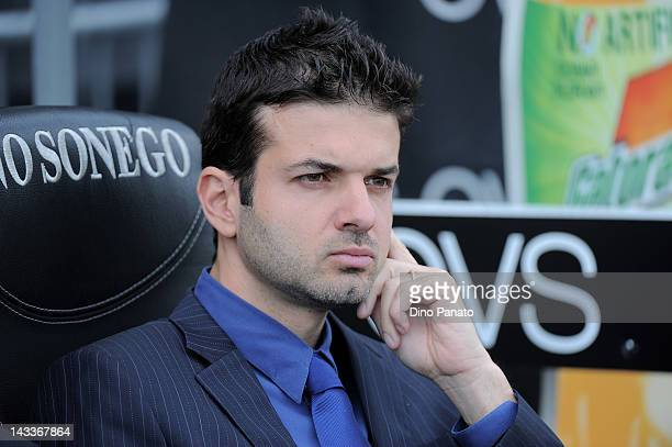 Head coach of Internazionale Milano Andrea Stramaccioni looks on during the Serie A match between Udinese Calcio and FC Internazionale Milano at...