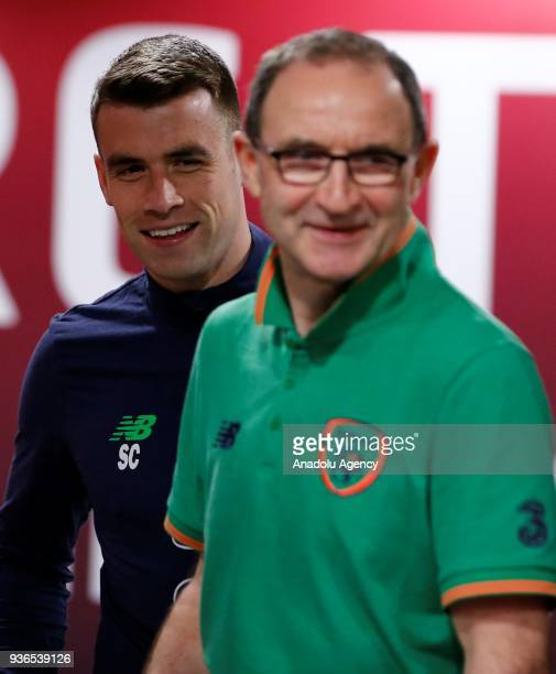 Head coach of Ireland national football team Martin O'Neill and his player Seamus Coleman hold a press conference ahead of friendly football match...