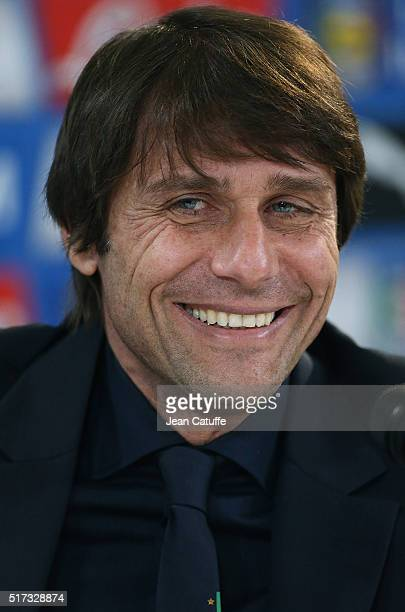 Head coach of Italy Antonio Conte answers to the media during a press conference following the international friendly match between Italy and Spain...