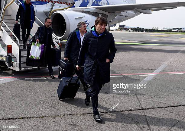 Head coach of Italy Antonio Conte arrives to Florence Airport on March 25 2016 in Florence Italy