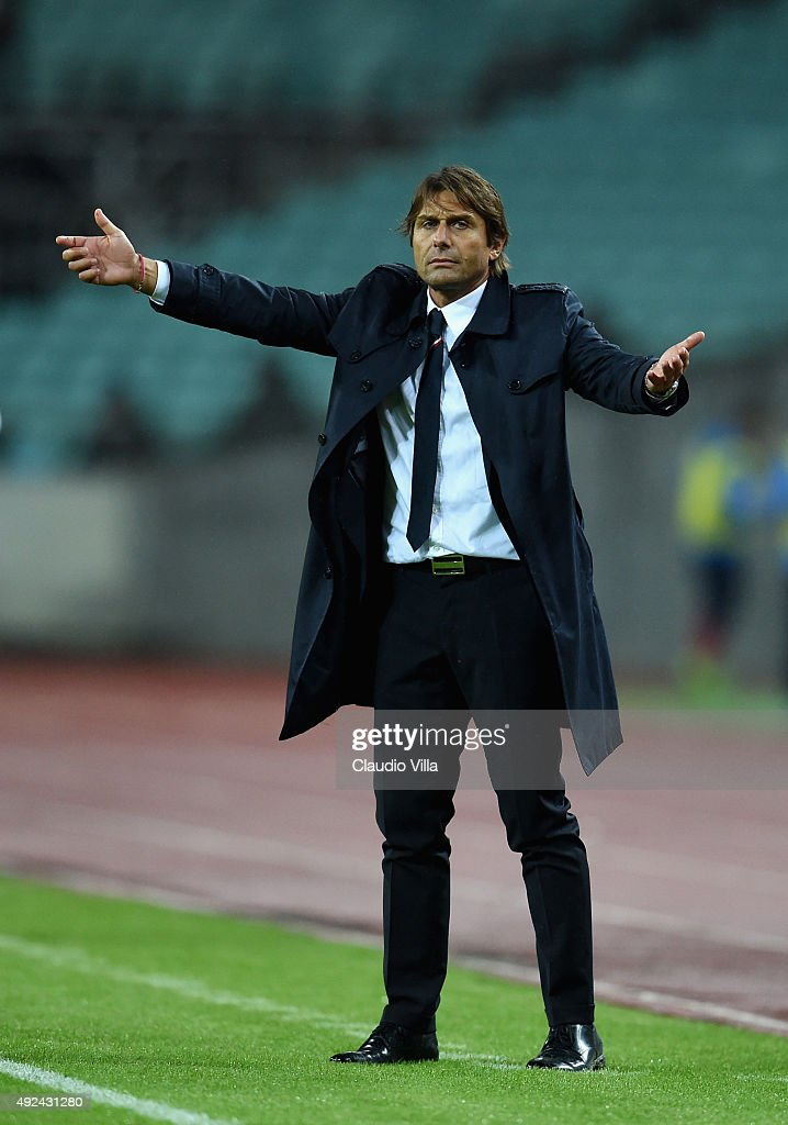 Head coach of Italy Antonio Conte reacts during the UEFA Euro 2016 qualifying football match between Azerbaijan and Italy at Olympic Stadium on October 10, 2015 in Baku, Azerbaijan.