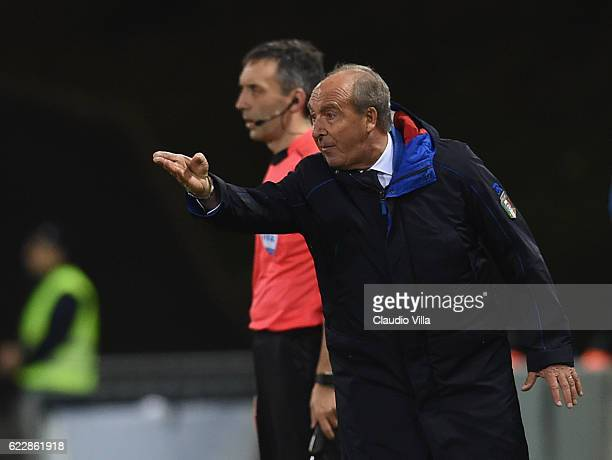 Head coach of Italy Giampiero Ventura reacts during the FIFA World Cup 2018 group G Qualifiers football match between Liechtenstein and Italy at the...