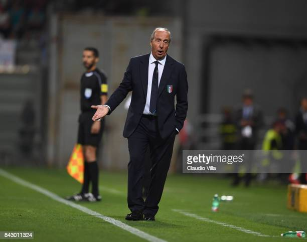 Head coach of Italy Gian Piero Ventura gestures during the FIFA 2018 World Cup Qualifier between Italy and Israel at Mapei Stadium Citta' del...