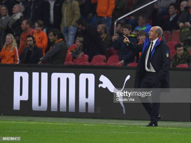 Head coach of Italy Gian Piero Ventura gestures during the international friendly match between Netherlands and Italy at Amsterdam Arena on March 28...
