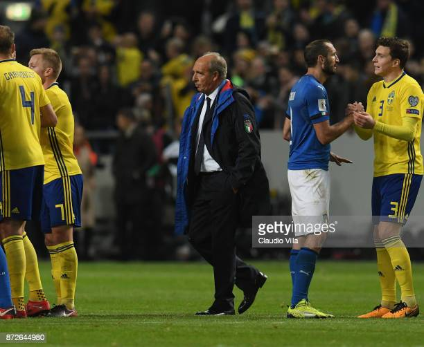 Head coach of Italy Gian Piero Ventura leave the field after losing 01 during the FIFA 2018 World Cup Qualifier PlayOff First Leg between Sweden and...
