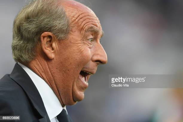 Head coach of Italy Gian Piero Ventura reacts during the International Friendly match between Italy v Uruguay on June 7 2017 in Nice France