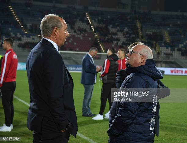 Head coach of Italy Gian Piero Ventura speak with President of FIGC Carlo Tavecchio before the FIFA 2018 World Cup Qualifier between Albania and...