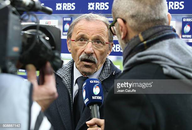 Head coach of Italy Jacques Brunel answers to media following the RBS 6 Nations match between France and Italy at Stade de France on February 6 2016...