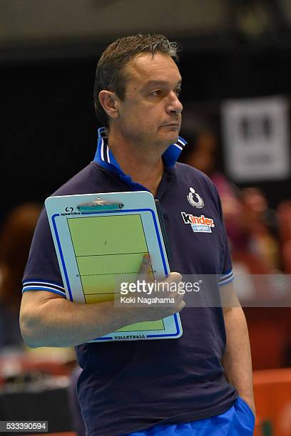 Head coach of Italy Marco Bonitta looks on during the Women's World Olympic Qualification game between Italy and Kazakhstan at Tokyo Metropolitan...