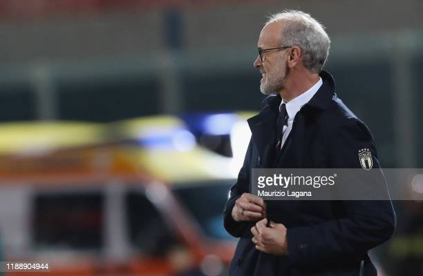 Head coach of Italy Paolo Nicolato during the UEFA U21 European Championship Qualifier match between Italy and Armenia at Stadio Angelo Massimino on...