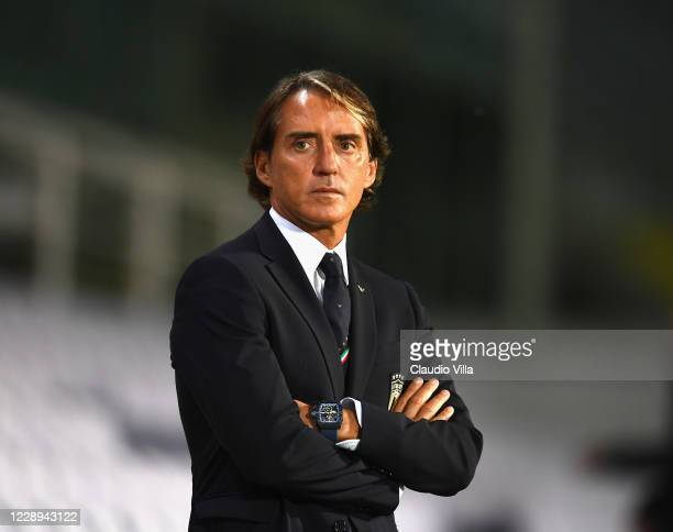 Head coach of Italy Roberto Mancini looks on during the international friendly match between Italy and Moldova at Artemio Franchi on October 7, 2020...
