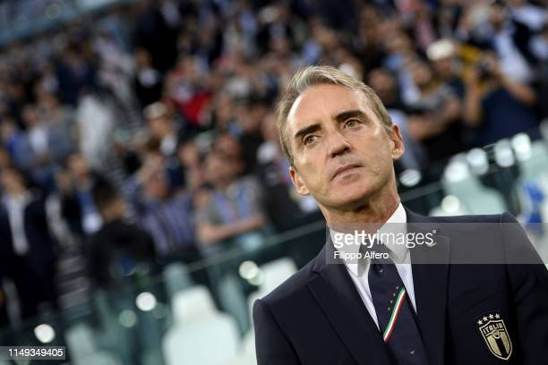 Head coach of Italy Roberto Mancini looks on during the UEFA Euro 2020 Qualifier between Italy and Bosnia and Herzegovina at Juventus Stadium on June...