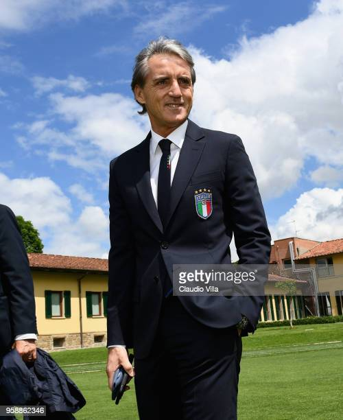 Head coach of Italy Roberto Mancini poses for a photo after the press conference at Centro Tecnico Federale di Coverciano on May 15, 2018 in...