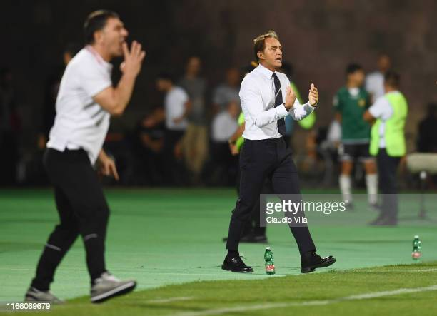 Head coach of Italy Roberto Mancini reacts during the UEFA Euro 2020 qualifier between Armenia and Italy at Republican Stadium after Vazgen Sargsyan...