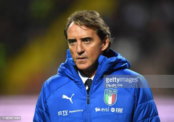 Head coach of Italy Roberto Mancini reacts during the UEFA Euro 2020 Qualifier between Bosnia and Herzegovina and Italy on November 15, 2019 in...