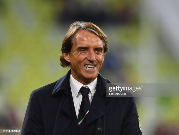 Head coach of Italy Roberto Mancini reacts during the UEFA Nations League group stage match between Poland and Italy at Gdansk Stadium on October 11,...