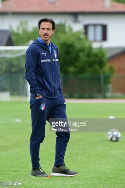 Head Coach of Italy U18 Daniele Franceschini looks during during the warmup prior of the International Friendly match between Italy U18 and Austria...