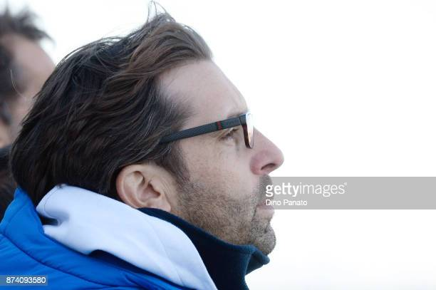 Head coach of Italy U20 Federico Guidi looks on during the 8 Nations Tournament match between Italy U20 and Netherlands U20 on November 14 2017 in...