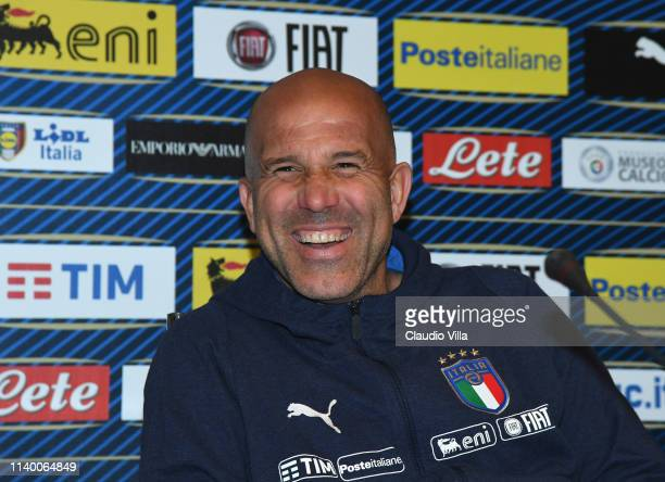Head coach of Italy U21 Luigi Di Biagio speaks with the media during a Italy press conference during a Italy press conference at Centro Tecnico...