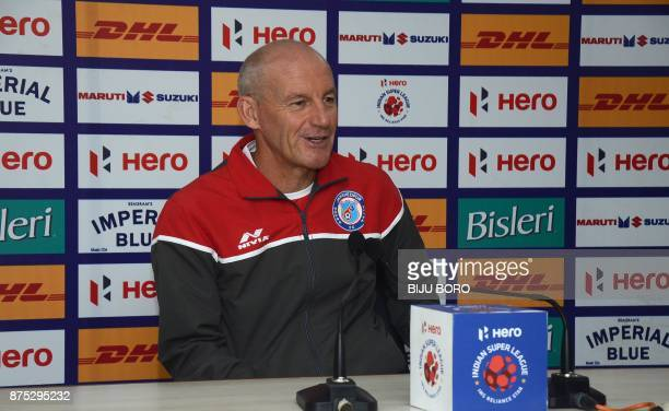 Head coach of Jamshedpur FC Steve Coppell addresses the media on the eve of their first soccer match for the 2017 edition of the Indian Super League...