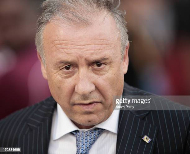 Head Coach of Japan Alberto Zaccheroni before the FIFA World Cup Asian qualifier match between Iraq and Japan at Al-Arabi Stadium on June 11, 2013 in...
