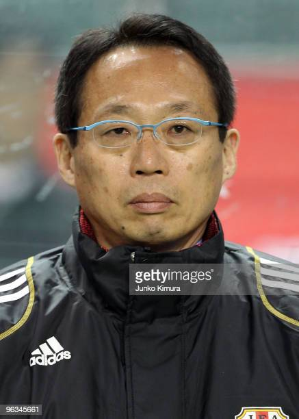 Head Coach of Japan Takeshi Okada looks on during Kirin Challenge Cup Soccer match between Japan and Venezuela at Kyushu Sekiyu Dome on February 2...