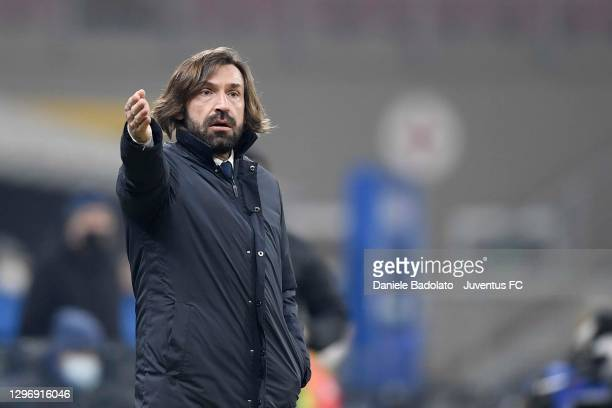 Head coach of Juventus Andrea Pirlo gestures during the Serie A match between FC Internazionale and Juventus at Stadio Giuseppe Meazza on January 17,...