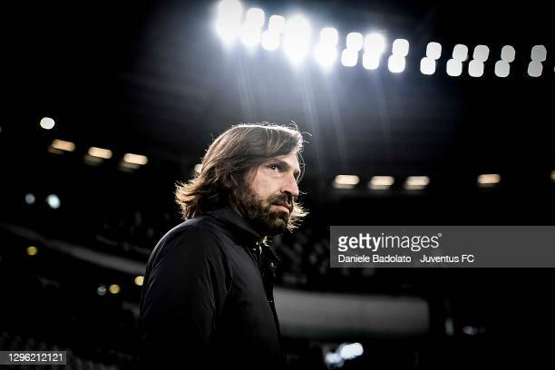 Head coach of Juventus Andrea Pirlo looks on during the Coppa Italia match between Juventus and Genoa CFC at Allianz Stadium on January 13, 2021 in...