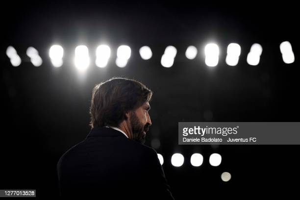 Head coach of Juventus Andrea Pirlo looks on during the Serie A match between AS Roma and Juventus at Stadio Olimpico on September 27, 2020 in Rome,...