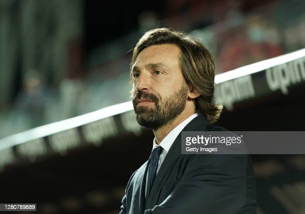 Head coach of Juventus Andrea Pirlo looks on during the Serie A match between FC Crotone and Juventus at Stadio Comunale Ezio Scida on October 17,...