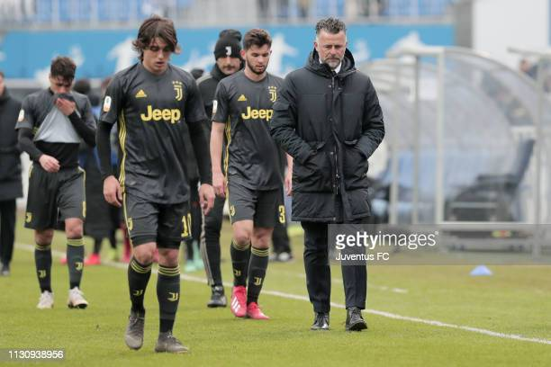Head coach of Juventus Francesco Baldini looks on dejected during the UEFA Youth League match between Dynamo Kiev and Juventus at Valeriy Lobanovskyy...