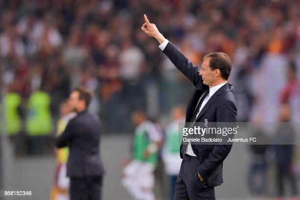 head coach of Juventus Massimiliano Allegri gestures during the serie A match between AS Roma and Juventus at Stadio Olimpico on May 13 2018 in Rome...
