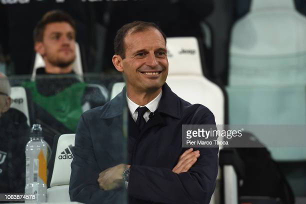 Head Coach of Juventus Massimiliano Allegri looks during the Serie A match between Juventus and Cagliari on November 3 2018 in Turin Italy
