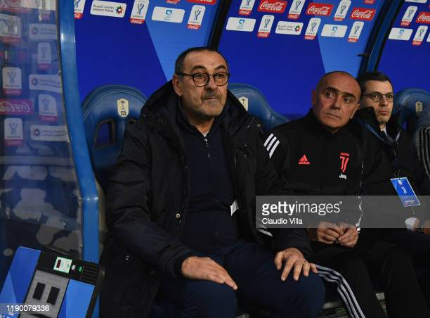 Head coach of Juventus Maurizio Sarri looks on during the Italian Supercup match between Juventus and SS Lazio at King Saud University Stadium on...