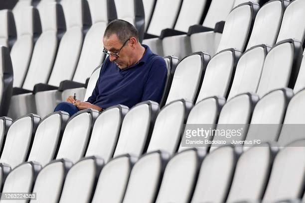 Head coach of Juventus Maurizio Sarri sits in the stands during the Serie A match between Juventus and AS Roma at Allianz Stadium on August 01, 2020...