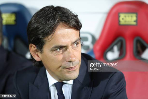 Head coach of Lazio Simone Inzaghi during the Serie A match between FC Crotone and SS Lazio at Stadio Comunale Ezio Scida on May 28 2017 in Crotone...