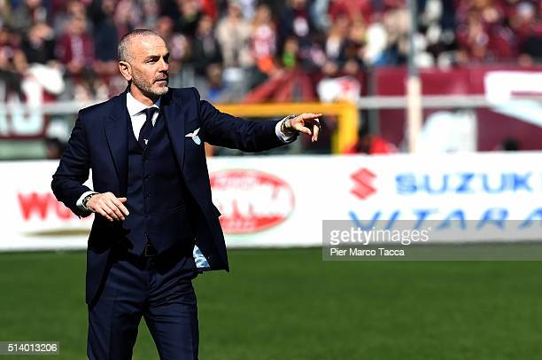 Head Coach of Lazio SS Stefano Pioli gestures during the Serie A match between Torino FC and SS Lazio at Stadio Olimpico di Torino on March 6 2016 in...