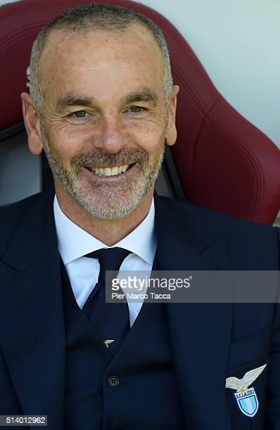 Head Coach of Lazio SS Stefano Pioli looks before the Serie A match between Torino FC and SS Lazio at Stadio Olimpico di Torino on March 6 2016 in...