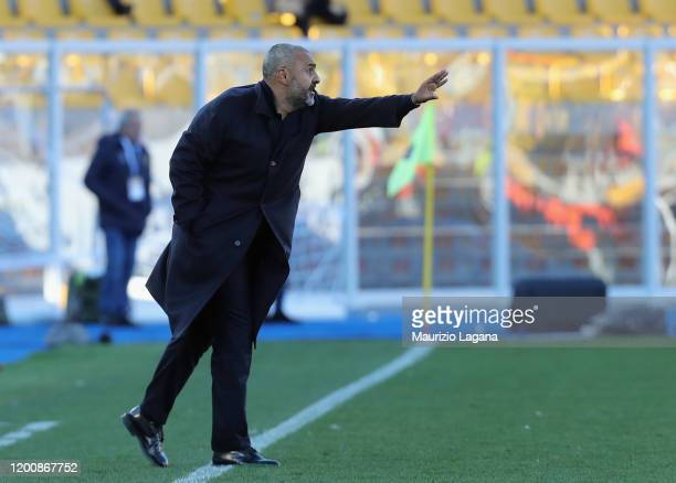 Head coach of Lecce Fabio Liverani gestures during the Serie A match between US Lecce and SPAL at Stadio Via del Mare on February 16 2020 in Lecce...