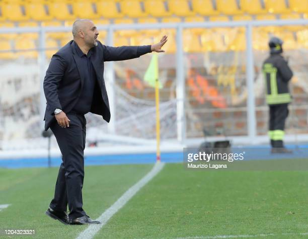 Head coach of Lecce Fabio Liverani gestures during the Serie A match between US Lecce and Atalanta BC at Stadio Via del Mare on March 1 2020 in Lecce...