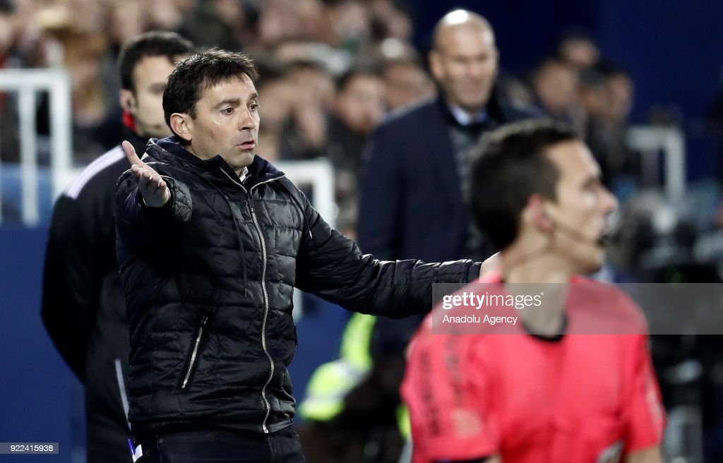 Head Coach of Leganes Asier Garitano gestures during the La Liga football match between Leganes and Real Madrid at the Estadio Municipal Butarque in Madrid, Spain on February 21, 2018.