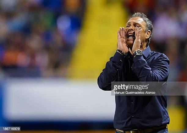Head Coach of Levante UD Joaquin Caparros reacts during the La Liga match between Levante UD and Granada CF at Ciutat de Valencia Stadium on November...