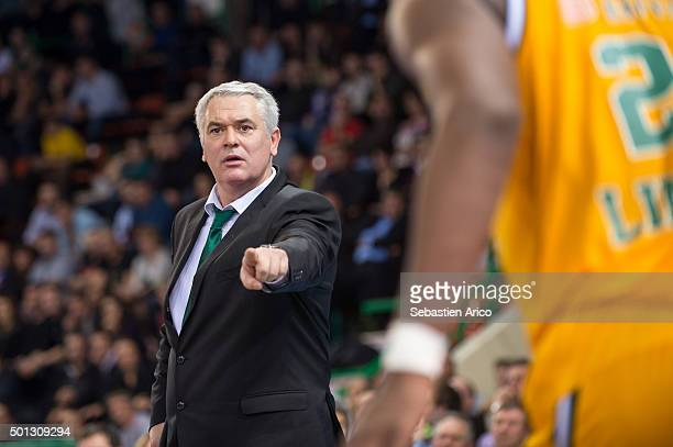 Head Coach of Limoges CSP Philippe Herve gestures during the Turkish Airlines Euroleague Basketball Regular Season Round 9 game between Limoges CSP v...