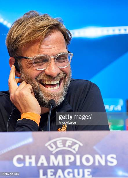 Head Coach of Liverpool FC Jurgen Klopp attends the press conference prior to their Champions League match against Liverpool FC at Estadio Ramon...