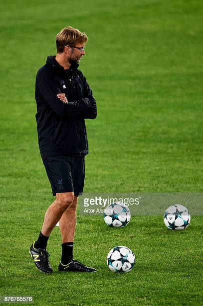 Head Coach of Liverpool FC Jurgen Klopp looks on during the training session prior to their Champions League match against Liverpool FC at Estadio...