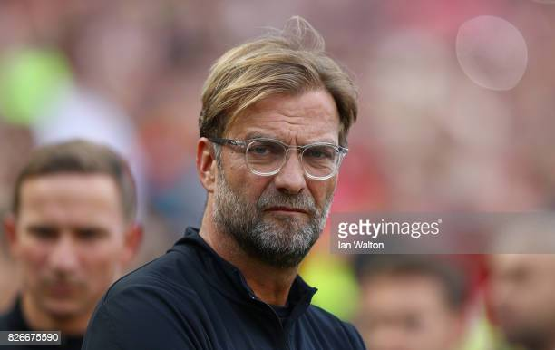 Head Coach of Liverpool Jurgen Klopp looks on prior to the Pre Season Friendly match between Liverpool and Athletic Club at Aviva Stadium on August 5...