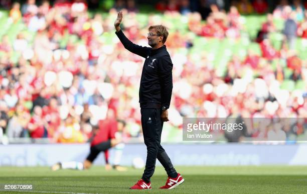 Head Coach of Liverpool Jurgen Klopp waves to fans prior to during the Pre Season Friendly match between Liverpool and Athletic Club at Aviva Stadium...
