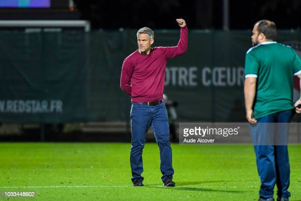 Head coach of Lorient Mickael Landreau celebrates during the French Ligue 2 match between Red star and Lorient at Stade Pierre Brisson on September...