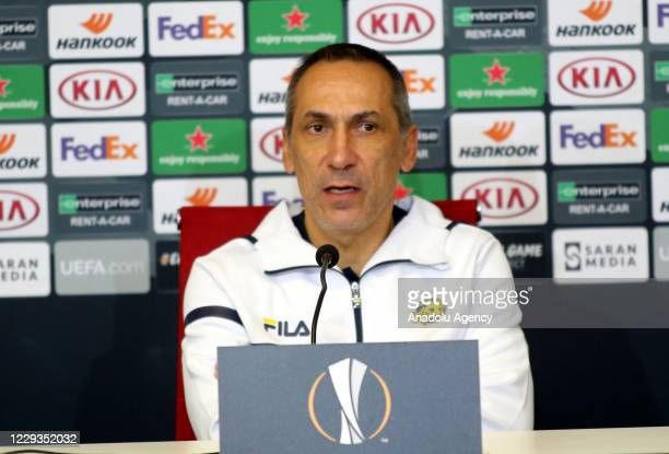 Head coach of Maccabi Tel-Aviv Giorgos Donis speaks to the press after the UEFA Europa League Group I soccer match between Demir Grup Sivasspor and...