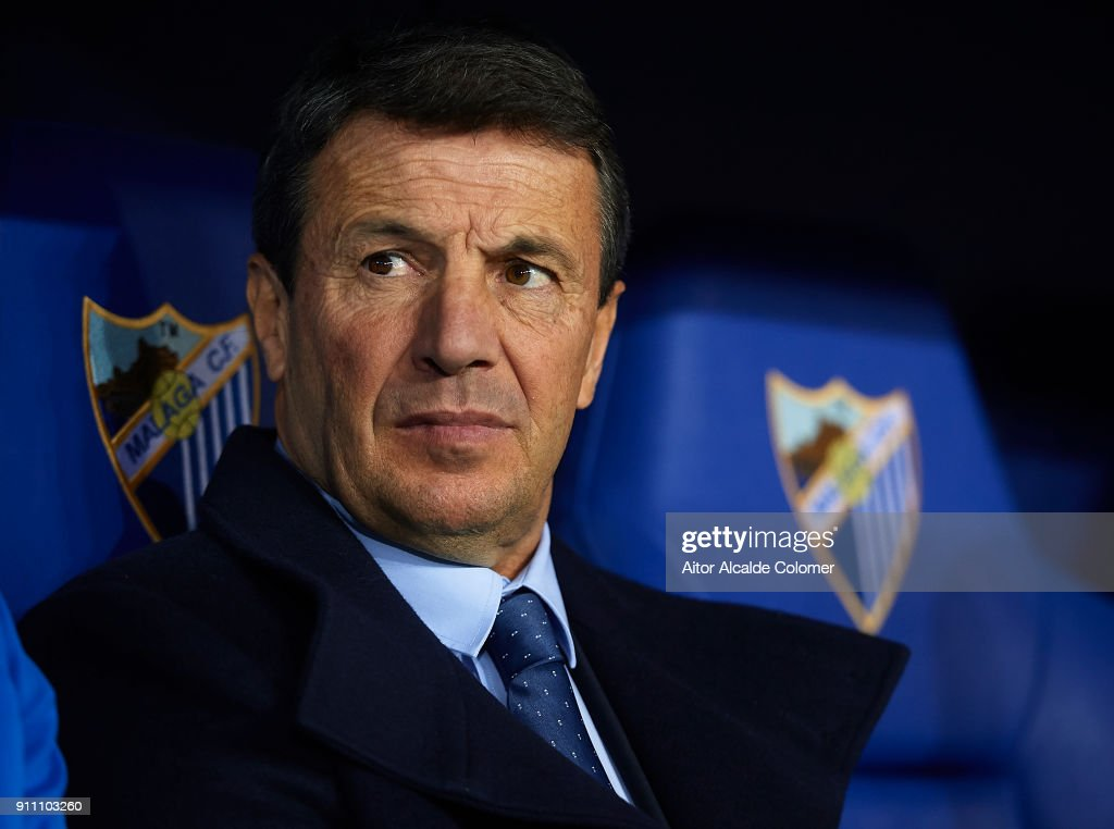 Head Coach of Malaga CF Jose Gonzalez looks on during the La Liga match between Malaga and Girona at Estadio La Rosaleda on January 27, 2018 in Malaga, .